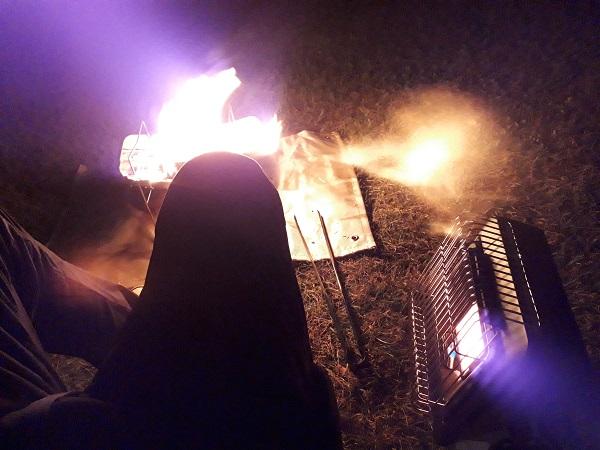 イワタニカセットガスマイ暖をキャンプで使用